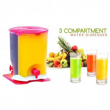 3 Compartment Juice Drink Dispenser Water Camping Party BBQ Drink Dispenser