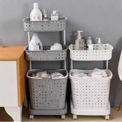 3 Tiers Laundry Basket Organizer Kitchen Bathroom Rack with Wheels