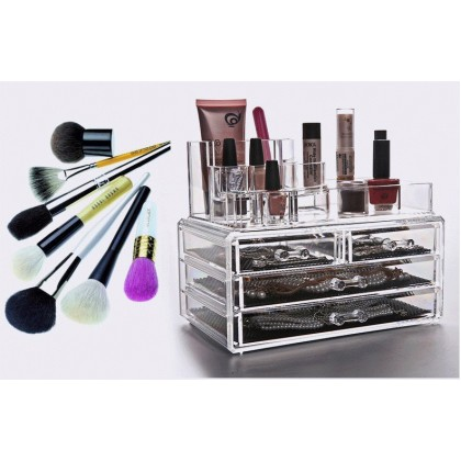 Acrylic Cosmetic 4 Drawer Semicircle Make Up Jewelry Storage Large Organizer 8804-1