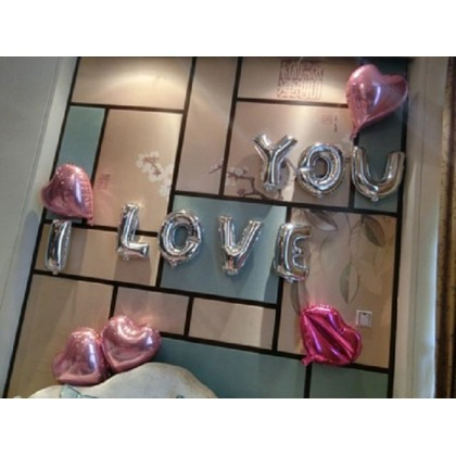 Alphabet Wedding Birthday Party Decoration Silver Party Foil Balloon 16 inch