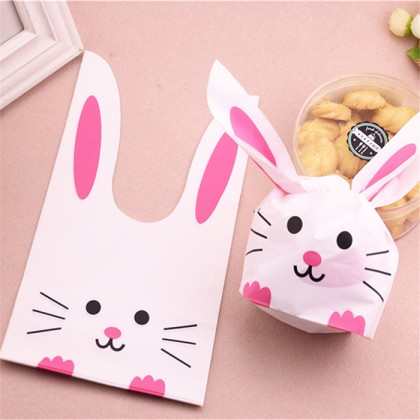 Cute Cartoon Long Ear Bakery Cookie Candy Bags Plastic Party Gift Bags Large 50Pcs