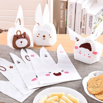 50pcs Cute Cartoon Long Ear Bakery Cookie Candy Bags Plastic Party Gift Bags Small