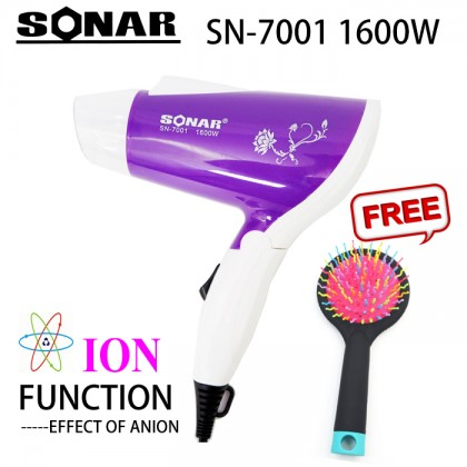 Sonar SN-7001 Mini Portable Foldable Travel Hair Dryer 1600W + Free Gift