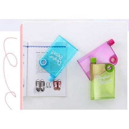Memo Bottle A5 Size Slim Flat BPA Free Transparent Water Bottle 380ml