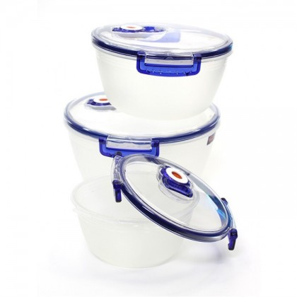 ARSTO Round Shape 3 Sets Vacuum Food Container