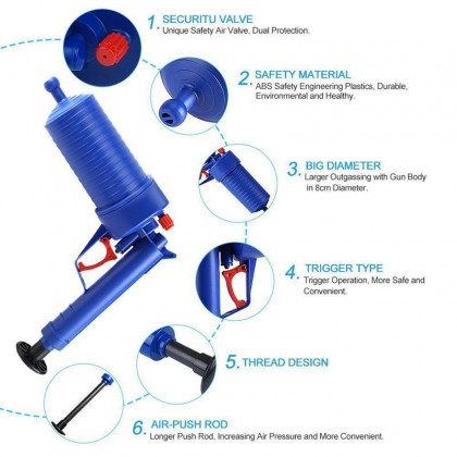 Home Toilet Floor Drain Canalisation Air Power Plunger Blaster Pump Cleaner