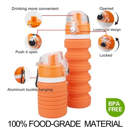 BPA Free Silicone Collapsible Foldable Water Bottle Sport School Travel Outdoor Gym with Volume 500ml