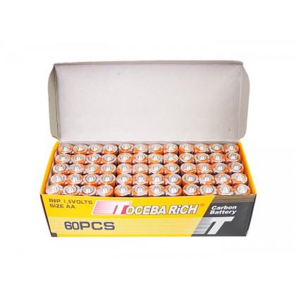 60pcs Toceba Rich Carbon Heavy Duty High Power 1.5Volts Size AA Battery