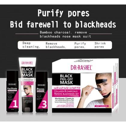 Dr-Rashel Black Peel-Off Mask Collagen & Charcoals Remove Blackheads 3 Steps