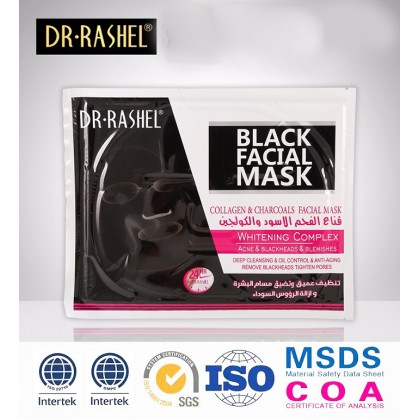 Dr-Rashel Black Facial Mask Collagen & Charcoals Facial Mask Remove Blackhead (3Pcs)