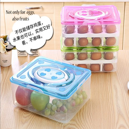 Double Layers 24/32 Grid Egg Box Food Container Organizer Convenient Storage Boxes