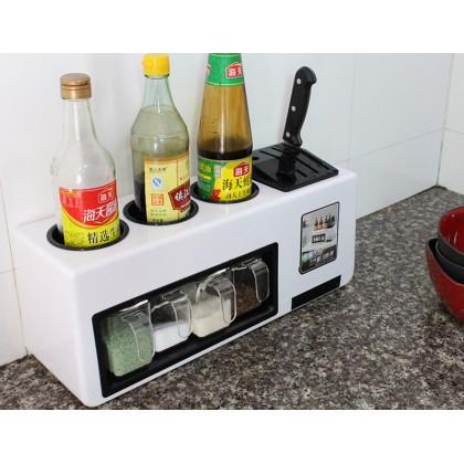 Multifunction Kitchen Seasoning Spice Condiment Storage Box Organizer Cutlery Shelf Rack