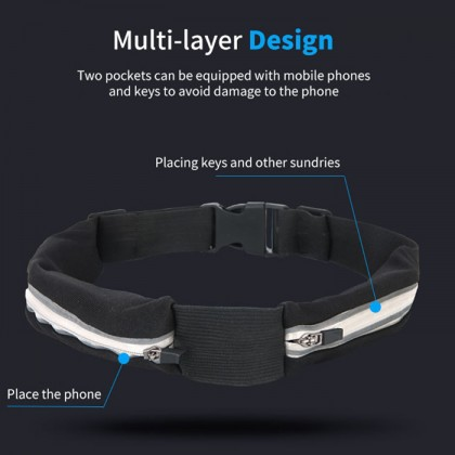 Running Belt Waist Bags Women Men Waterproof Pouch Bag Outdoor Sports Money Waist Belt Cellphone Bags With Headset Hole