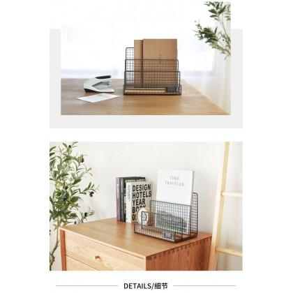 Iron Metal Wooden Utility Magazine Storage Rack Organizer Bookshelf Zakka Nordic Style