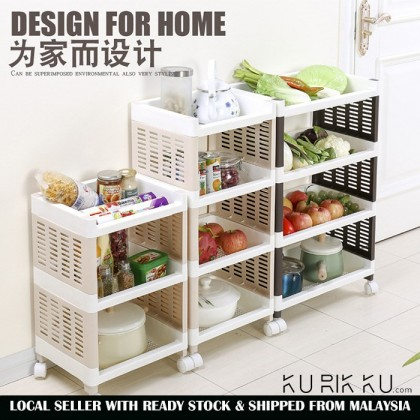 Multi-Layer Storage Rack Plastic Thickening Pulley Bathroom Shelf Kitchen
