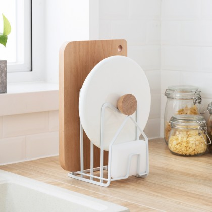Iron Metal Block Multi Cutting Board Rack Tower Drying Stand Pot Cover Holder Book Shelf Magazine Rack