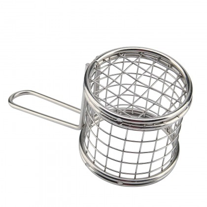 Stainless Steel Mini Chips Frying Basket French Fries Basket Kitchen Cafe Restaurant Tool