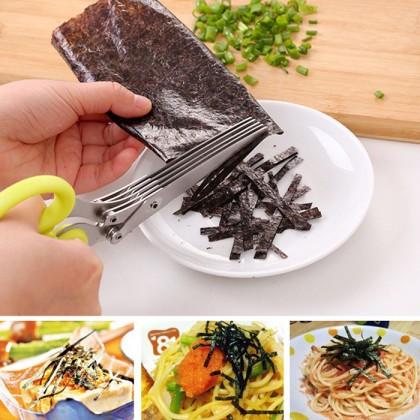 Stainless Steel 5 Blade Multi Purpose Vegetable Herb Scissor Shear Cutter Kitchen Tool Gadget