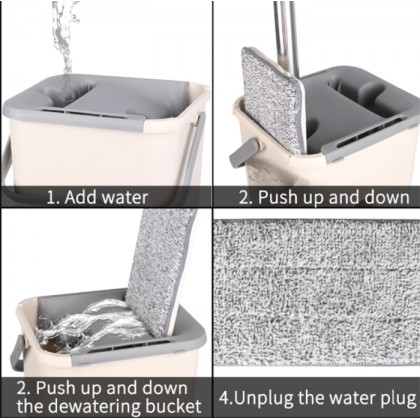Stainless Steel Flat Mop Self Wet And Dry Cleaning Microfiber Mop Floor Cleaning System