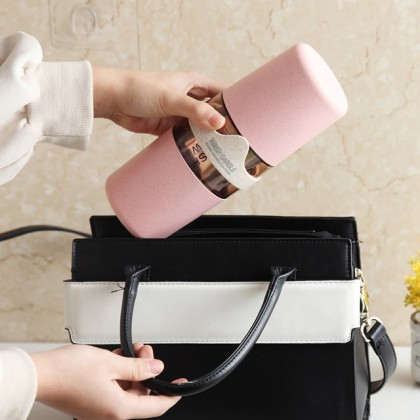 Natural Wheat Straw Fiber Portable Toothbrush Cup Holder Case Storage Travel  Box