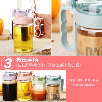 Cooking Oil Bottle Soy Sauce Vinegar Storage Dispenser Leak-proof Cruet Glass