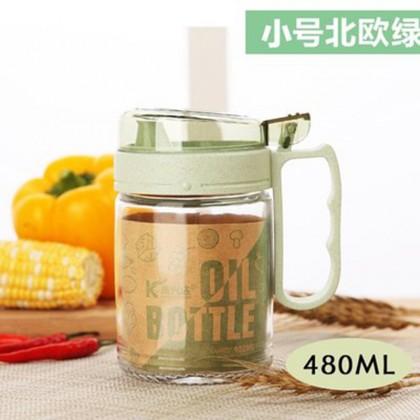 Cooking Oil Bottle Soy Sauce Vinegar Storage Dispenser Leak-proof Cruet Glass