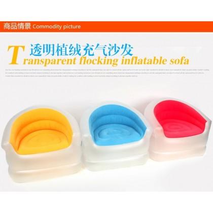 Jilong Transparent Candy Color Flocking PVC Inflatable Air Sofa Free Pump