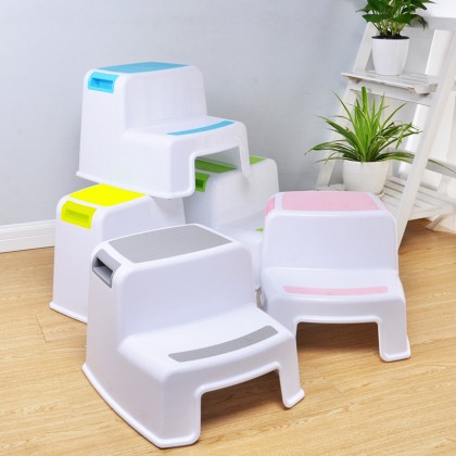 Thick Plastic 2 Step Stool Kids Toddler Stool Toilet Potty Training Stool Bathroom