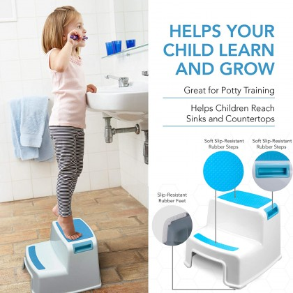 Thick Plastic 2 Step Stool Kids Toddler Stool Toilet Potty Training Stool Bathroom