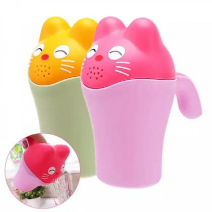 Baby Bath Cap Kids Washing Hair Shampoo Cup Cartoon Cat Children Shower Spoon