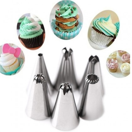Silicone Baking Icing Piping Cream Pastry Bag with 12pcs Stainless Steel Nozzle