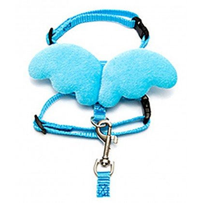 Angel Wing Adjustable Pet Cat Dog Kitten Kitty Puppy Collar Nylon Fabric Neck Strap Chain with Traction Rope Necklace