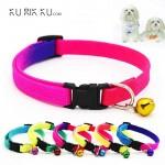 Fashion Cat Collar Pet Dog Puppy Cat Kitten Collar with Bell Adjustable Random