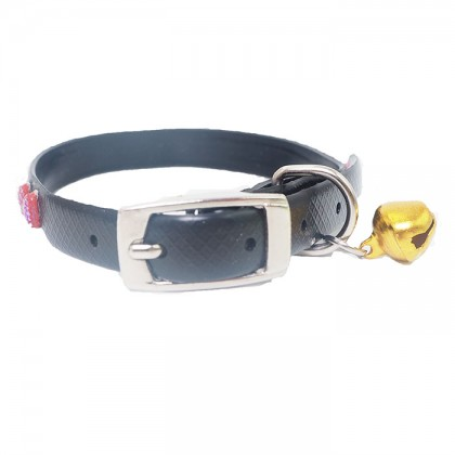 Adjustable Silicone Cat Bell Collar With Bow Printed For Puppy Kitten Necklace Neck Strap