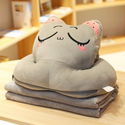 Multipurpose 3 In 1 Cute Big Cartoon Kitty Cat Pillow with Soft Blanket and Hand Warmer Cartoon Travel Cushion Blanket