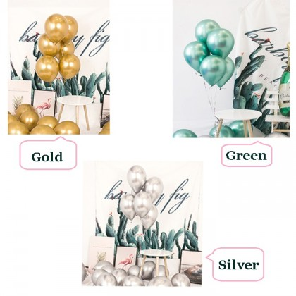 8Pcs 12 inch Metallic Balloons Round Chrome Helium Balloons Wedding Birthday Party Decorative