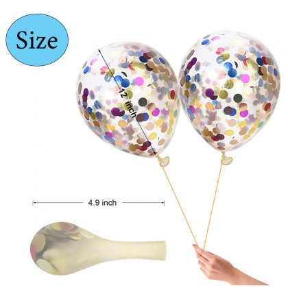 5pcs 12inch transparent latex balloons confetti latex balloons Wedding birthday party scene