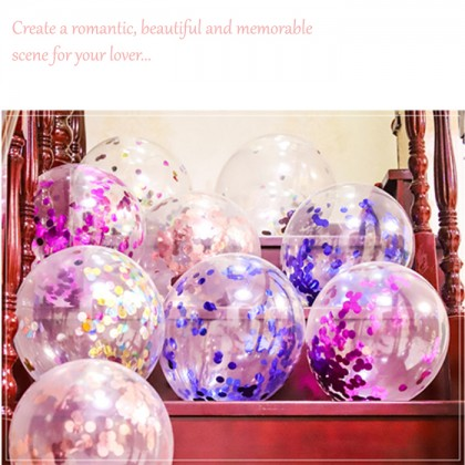 5pcs 12inch transparent latex balloons confetti latex balloons Wedding birthday party scene