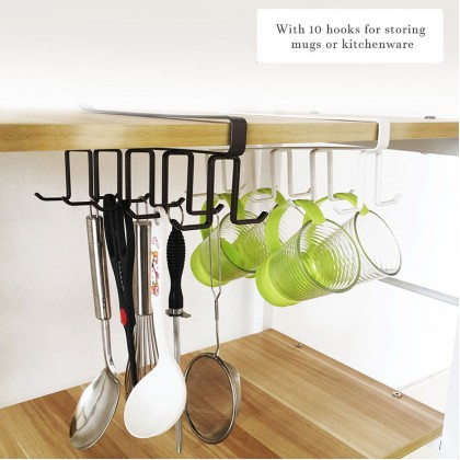 Iron Metal Multi Purpose Cup Mug Hook Hanging Holder Wardrobe Cabinet Under Shelf Storage Rack Organizer Hook Home