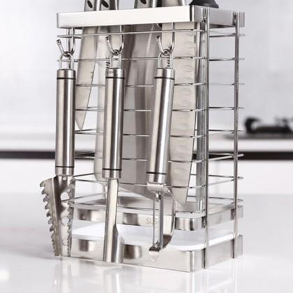 Stainless Steel Knife Stand Cutlery Storage Utensil Rack Holder Kitchen Gadget Organizer