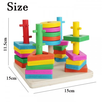 Matching Five Column Wood Building Block Children Wooden Early Educational Toys For Children