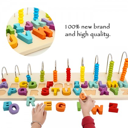 Kids Toy Puzzle Alphabet Number Counting Logarithmic Board Set Macaron Wooden Blocks
