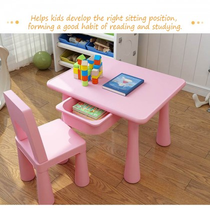 Children Kids Study Drawing Computer Table Chair Desk Storage Box Learning Studying