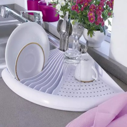 3-In-1 Space Saving Corner Dish Rack Drying Rack Kitchen Sink Holder Tray