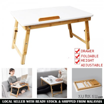 Height Adjustable Portable Foldable Folding Bamboo Wood Computer Laptop Desk with Drawer Table