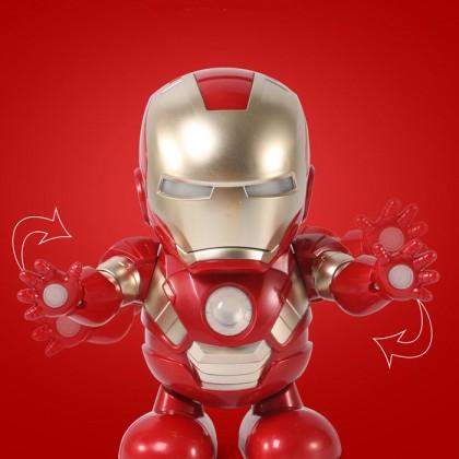 Super Hero Dance Hero Iron Man Spiderman Bumblebee Dancing Light and Music Figure Revenge Robot Toy