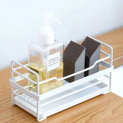 Iron Metal Sink Sponge Drain Storage Rack Soap Basket Shelf Holder Kitchen Bathroom Accessories
