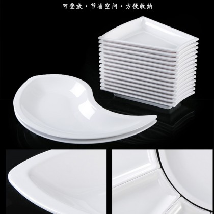 White Melamine Plastic Steamboat Party Dishes Plate Imitation Porcelain Tableware