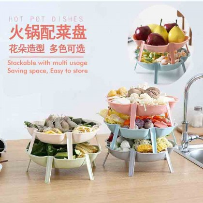 Stackable Hot Pot Steamboat Food Bowl Fruit Salad Snack Serving Dish Plate Saving Space