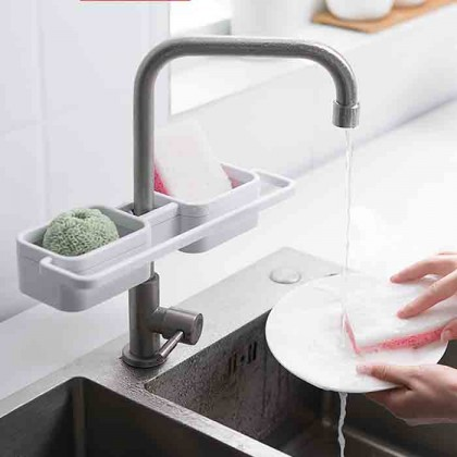 PP Sink Water Sponge Storage Rack Drainage Dish Drain Soap Brush Holder Tap Hand Towel Hanger Organizer Bathroom Accessories